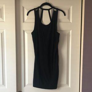 black bodycon strap dress